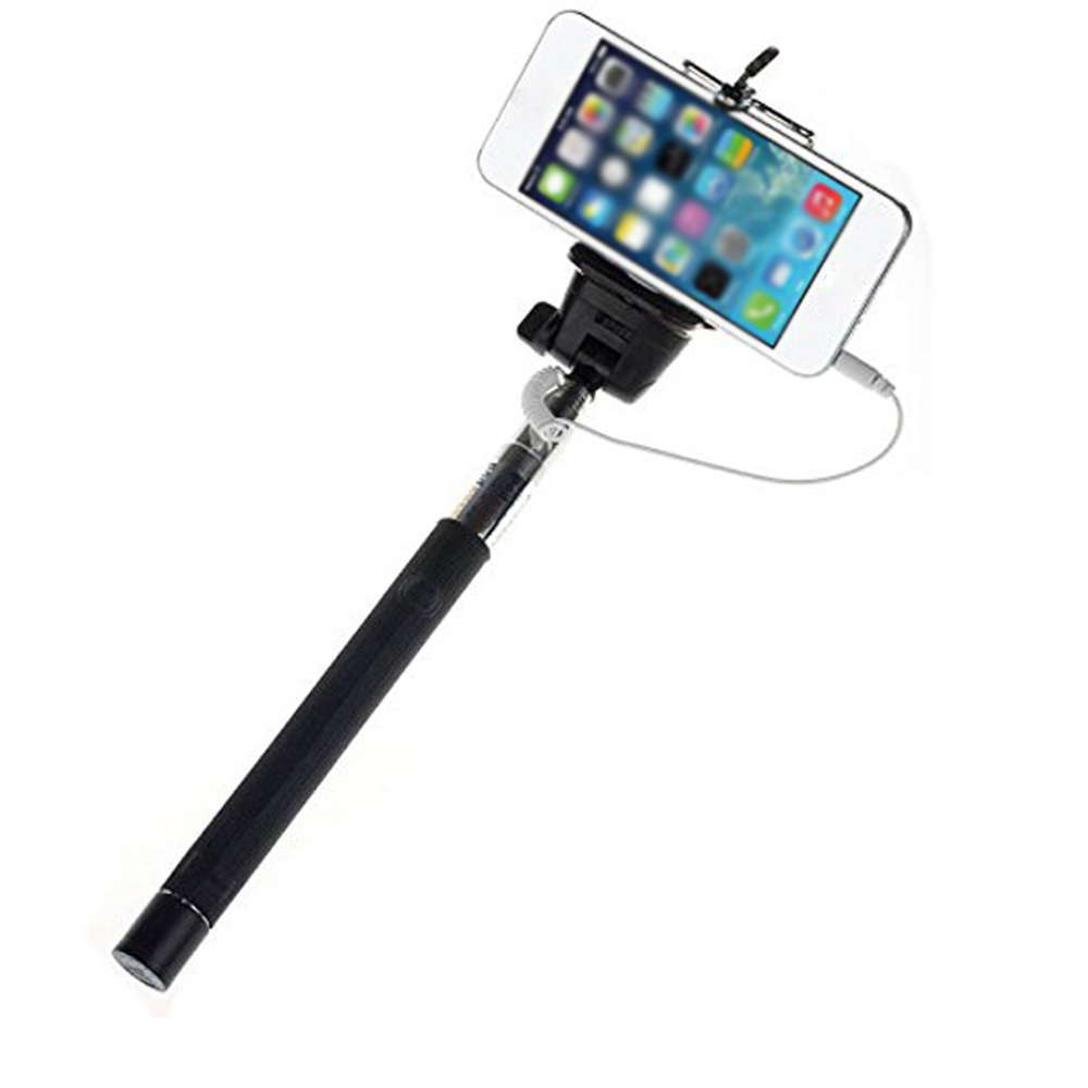 Handheld Extendable Self Portrait Selfie Monopod Stick: Wired Selfie Stick Extendable Monopod Selfie To Self