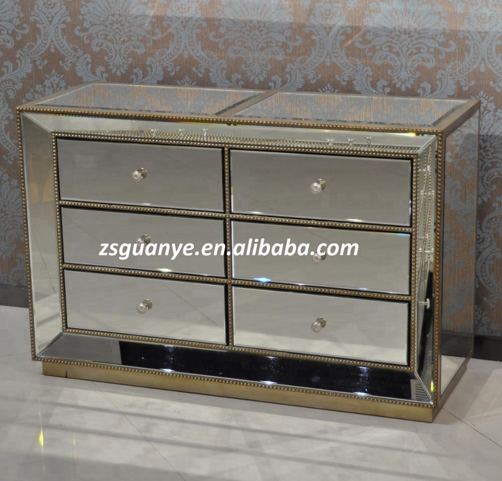 Современная Большая деревянная зеркальная тумбочка с 6 ящиками и отделкой из золотого бисера