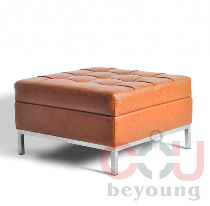 stainless steel square foot leather ottoman stool footrest