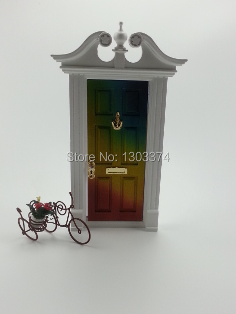 New style doule ear wooden fairy doors Multicolored with mailbox