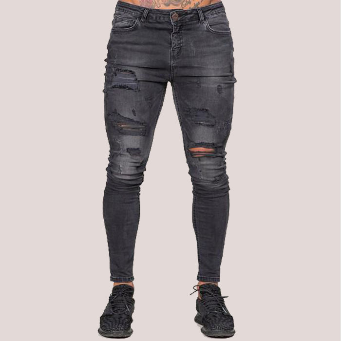 Mens Grey Ripped Jeans Fashion Street Denim Wear Young Men Skinny Jeans Buy Mens Abu Abu Robek Jeans Street Fashion Denim Memakai Pria Muda Skinny Jeans Product On Alibaba Com