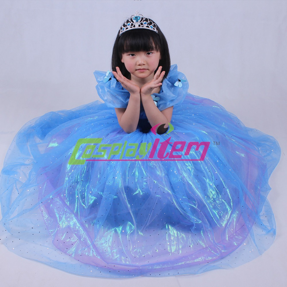 Cinderella 2015 Costumes Girls Dresses Shoes Jewelry: 2015 New Cinderella Princess Dress Princess Kids Girl