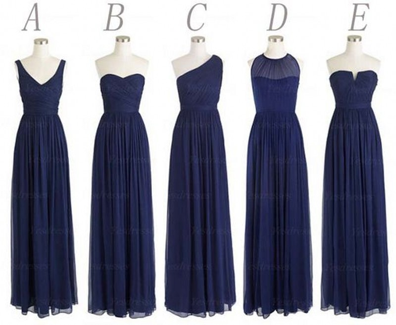 Cheap Multi Style Long Bridesmaid Dress Lovely Navy Blue