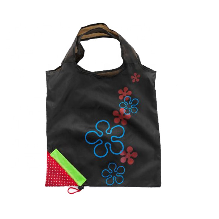 Reusable cute strawberry fruit shaped portable folding shopping bag