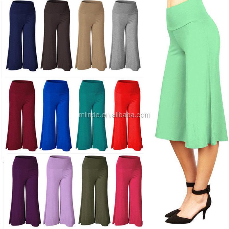 Womens Casual Wide Leg Plain Culottes 3//4 Length Ladies Shorts Trousers Pants
