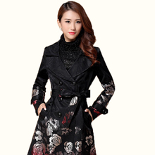 Long Trench Coat for Women 2016 Autumn Plus Size Double Breasted 3D Floral Embroidery Black Trench Coat Woman Windbreaker