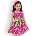 2016 Summer Girl Flowers Print Princess Dresses Baby Girls Cotton Clothes Vestido Infantil Girl Sleeveless Dress