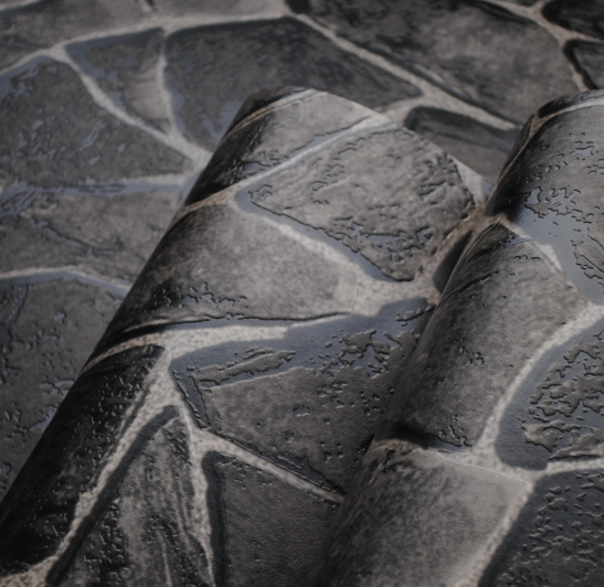 Natural Pvc Black Grey 3d Stone Wallpaper Wall Decorative