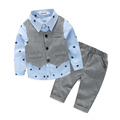 3pcs spring and autumn baby boy suit long sleeve shirt vest pants for newborn baby to