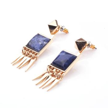 Wholesales Fashion Semi Precious Chakra Stone Earrings Women Stud Rose Quartz Lapis Lazuli Turquoise howlite in bulk SE99006