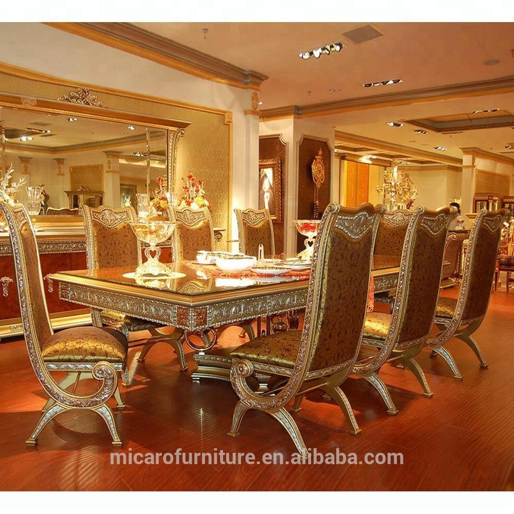 Italiano Stile Classico Di Lusso 8 Posti Tavolo Da Pranzo In Legno Set Con Gambe In Ottone Buy Lusso Set Tavolo Da Pranzo Tavolo Da Pranzo In Legno Set 8 Posti Dining Table