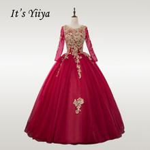 It's YiiYa свадебное платье золотого цвета с кружевом и круглым вырезом бордовое свадебное платье с длинным рукавом размера плюс мусульманское ...(China)