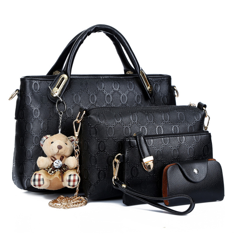 blue latest woman pu leather ladies bags handbag and wallet set 4 in 1