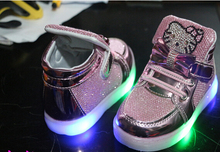 Children Casual Shoes 2016 LED Lights Female Male Child Sport Shoes Rhinestone Spring And Autumn Baby