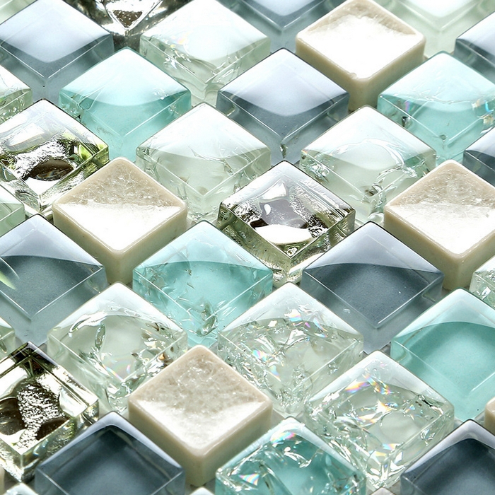 Mini 15 15mm Blue Color Crystal Glass Mosaic Tiles For