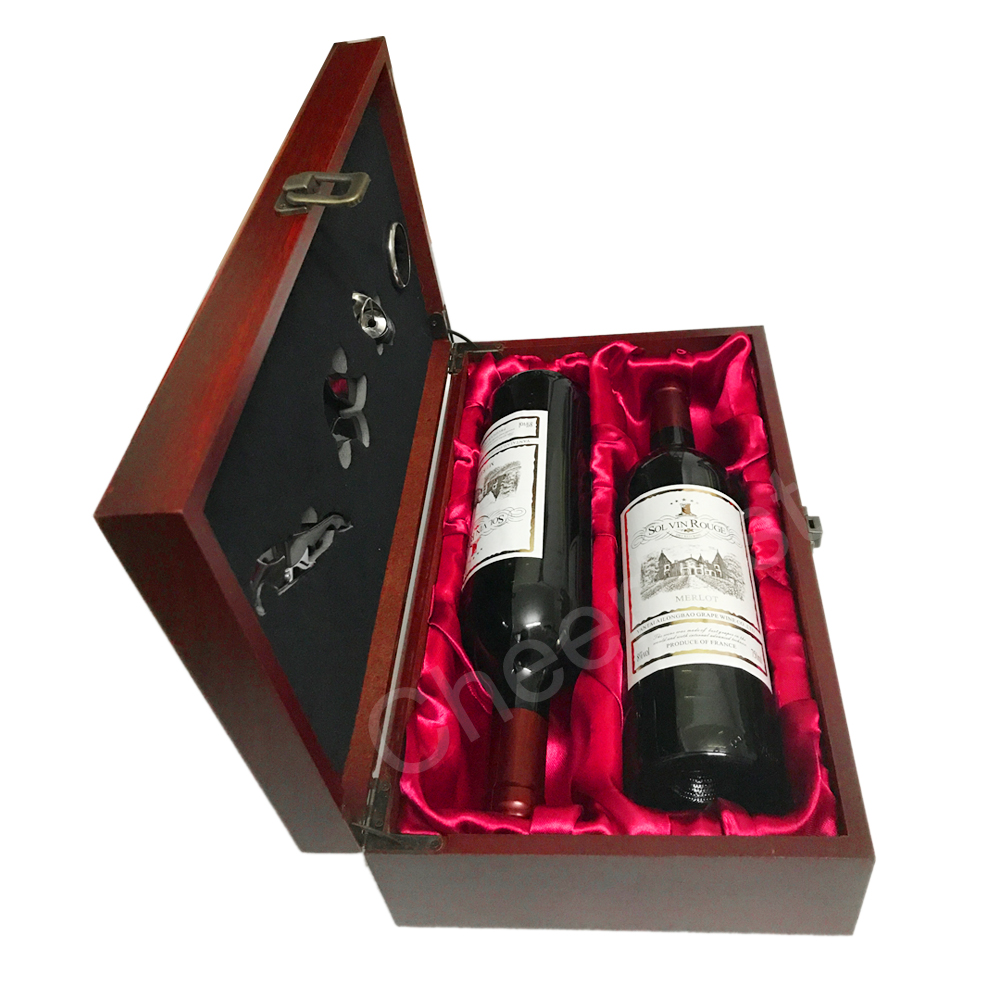 Awesome Double Bottle Wood Wine Packaging Box