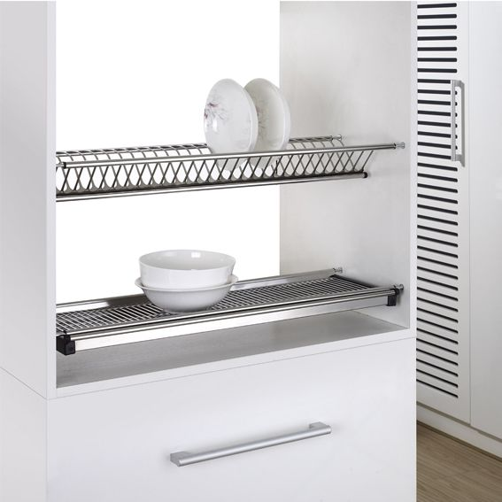 Cabinet Hardware 2 Tiers Kitchen Stainless Steel Dish Rack Kitchen Accessories 600mm Cabinet Buy Dish Rack Stainless Steel Dish Rack Kitchen Accesories Product On Alibaba Com