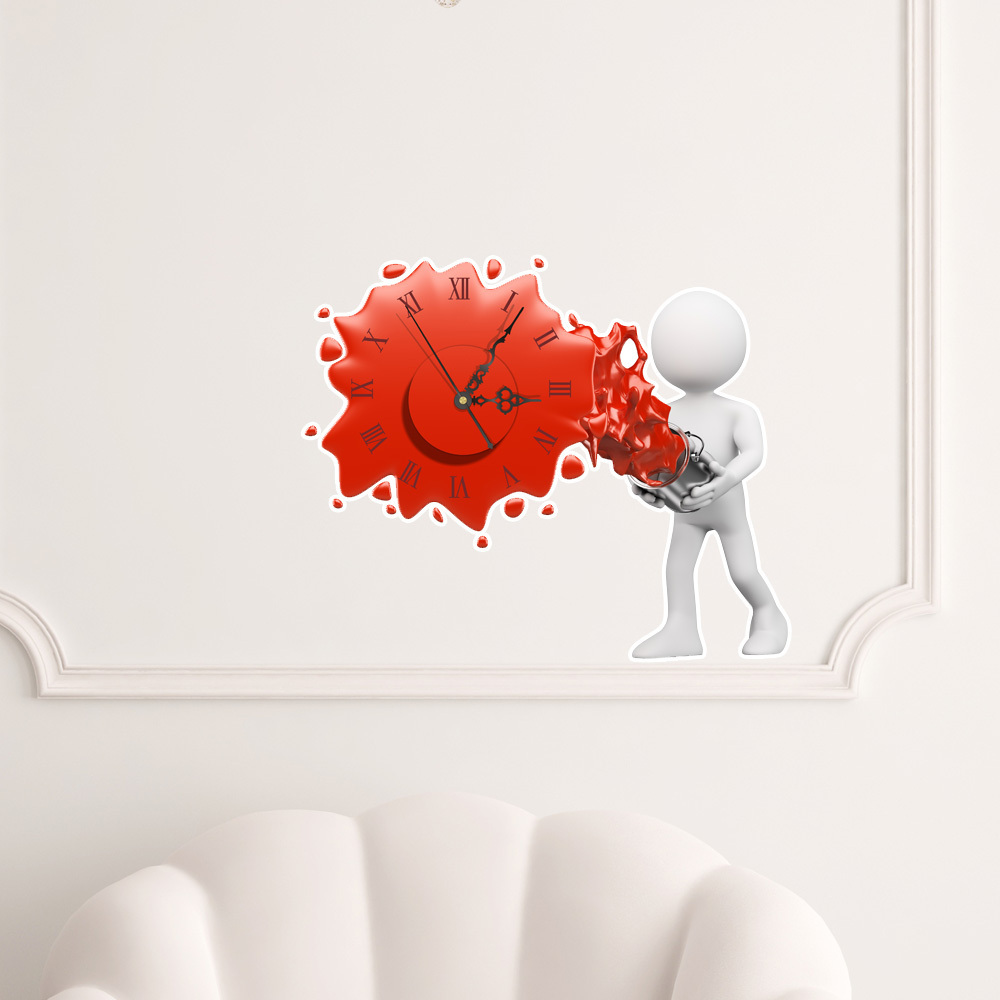 3d diy wall clock sticker modern design silent movement. Black Bedroom Furniture Sets. Home Design Ideas