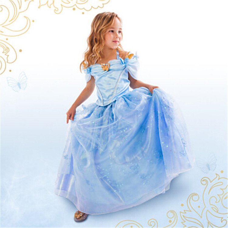 Cinderella Princess Character Dress Child 3t 4t 5 6 7: 2015 New Cinderella Kid Dress Cinderella Cosplay Children