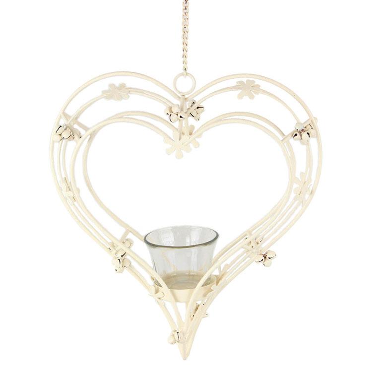 Metal Hanging Heart Shaped Tea Light Holders For Wedding Garden Or Home