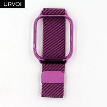 Ремешок URVOI Milanese для Apple Watch, 4 ремешка для iwatch, из нержавеющей стали, с магнитной пряжкой и чехлом для ПК, 40, 44 мм(Китай)