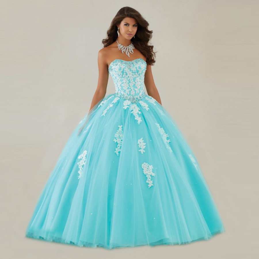 New Elegant White Lace Appliques Sky Blue Tulle Ball Gowns ...