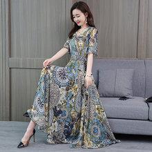 Элегантное шифоновое платье макси в стиле бохо с цветочным принтом, летнее винтажное платье размера плюс 4XL, пляжное платье миди с принтом, ж...(Китай)