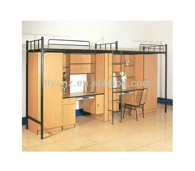 Китай произведено хорошо металлический каркас МДФ кровать студенческого общежития с шкафами и столами