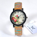 Fashion Wood Flower Pattern Ladies Watch Women Casual PU Band Sport Quartz Watch Diverse Dial Dress