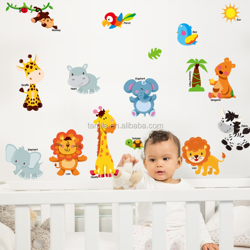 Animals English Name Home Bedroom Decor Removable Wall Sticker Decal Decoration