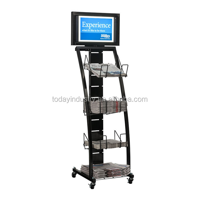 wheels display rack for book and newspaper literature display stand