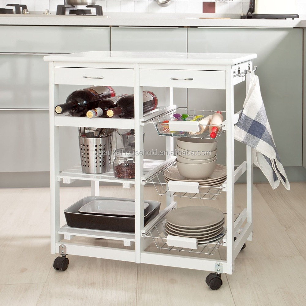 Space Saving Solid Wood Kitchen Trolley Includes Wine Rack,9 Wire ...