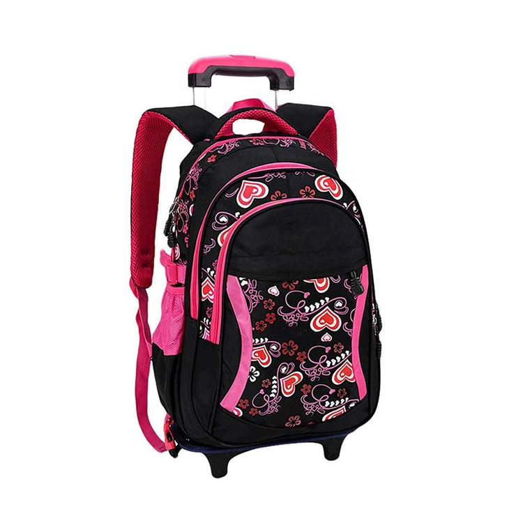 Trolley school bag Popular Fashion waterproof lightweight cute style girls kids luggage trolley school backpack bag