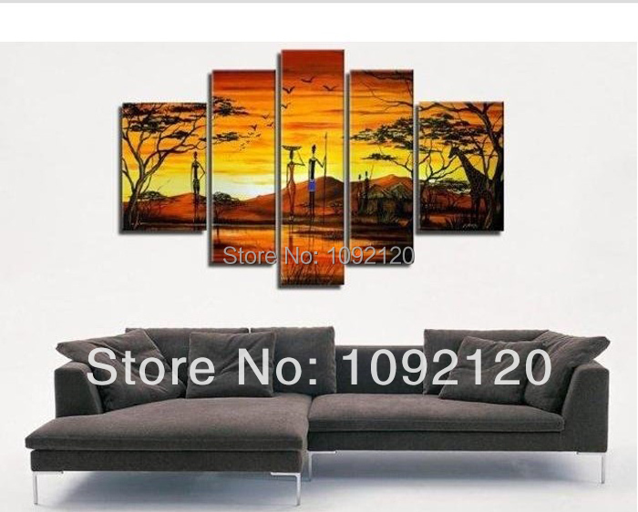 The African Impression !! 100% Handmade Modern Pictures On Canvas,Large Wall Art ,Top Landscape Oil Painting For Home Decoration