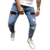 Hight quality men's jeans tight Destroy pant denim blue skinny Hole embroidery jeans ripped Hip-hop slim men jeans stock OEM