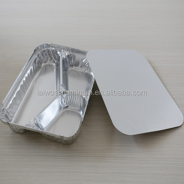 Disposable carry out 3 compartments aluminium foil food container/tray/box compartment aluminium foil lunch box