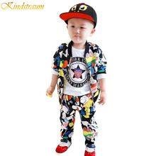 2016 NEW Spring kids clothing sets for boys girls Children cartoon printing clothes jacket pants Kids