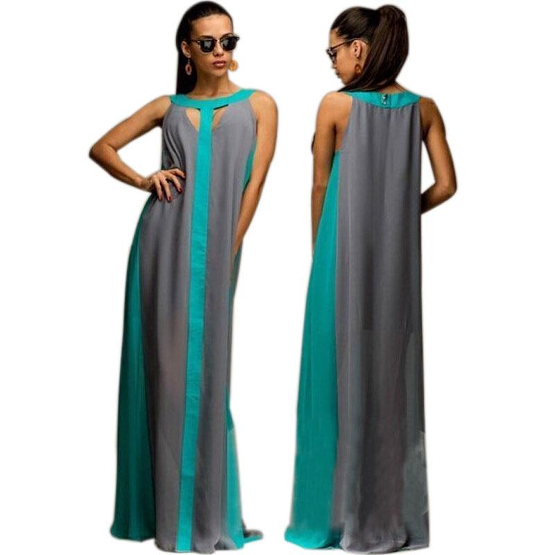 Striped Print Bohemian Chiffon Maxi Dress Plus Size Long ...