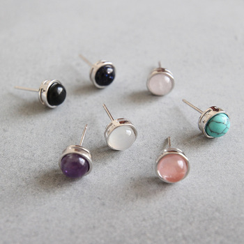 Simple black agate rose quartz turquoise opal stone stud 925 Sterling Silver Earring