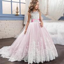 Белое платье для первого причастия, детское свадебное платье для девочек-подростков, Формальное длинное кружевное платье принцессы, вечерн...(China)
