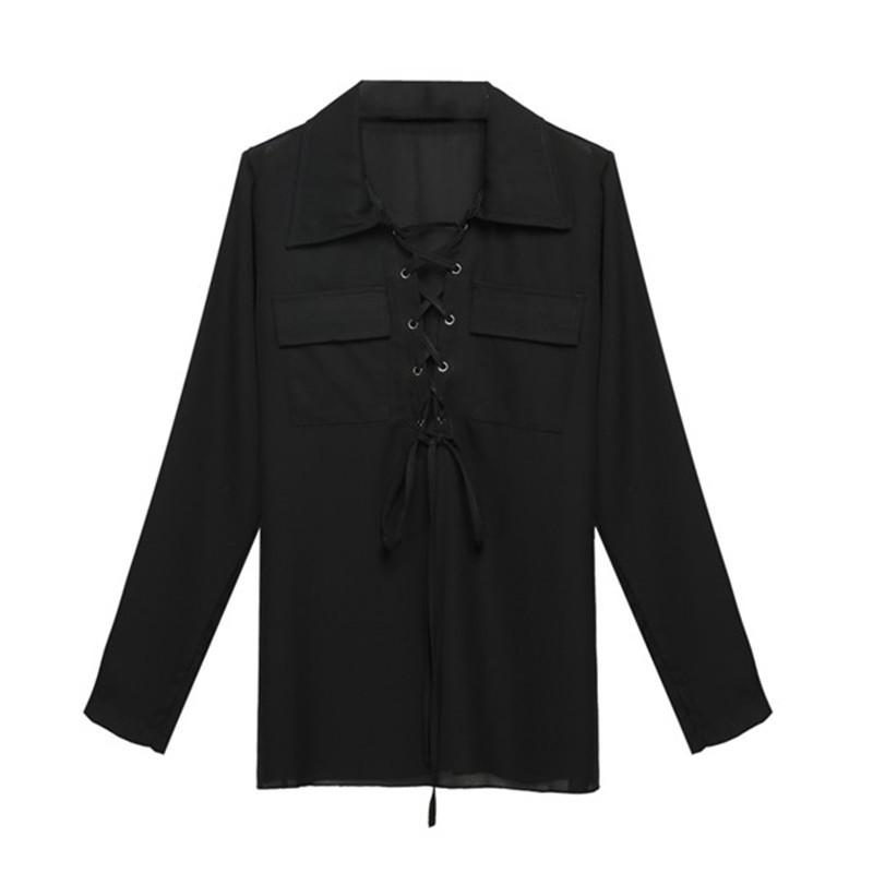 ZANZEA Blusas 2017 Women Turn Down Collar Chiffon Shirt Sexy Deep V Front Lace Up Long Sleeve Blouse Casual Tops Plus Size S-3XL