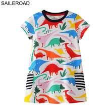 SAILEROAD 2-7лет мультфильм динозавров новорожденных девочек топы майки платье для летних детей детская одежда для девочек хлопок Meninas Vestido(Китай)