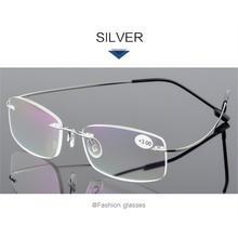 UVLAIK очки для чтения без оправы, для женщин и мужчин, ультра-светильник, гибкие бескаркасные очки для чтения диоптрий при дальнозоркости + 1 + 1,...(Китай)