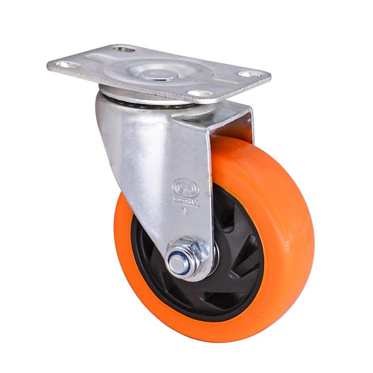 MW High Quality Medium Duty 5 Inch Furniture Use Swivel PVC orange Caster Wheels