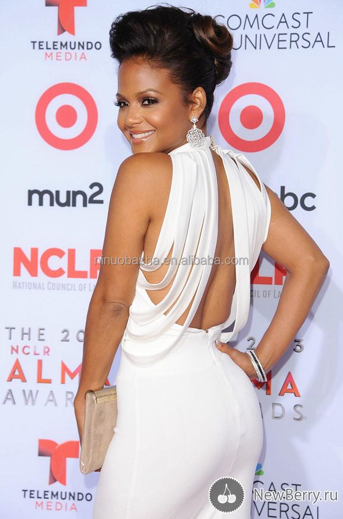 2014 Sexy Red Carpet Christina Milian Celebrity Dress High