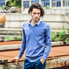 Pioneer Camp. Free shipping! 2015 new fashon mens sweaters casual pullover cotton v-neck knitwear street fitness sweater coat
