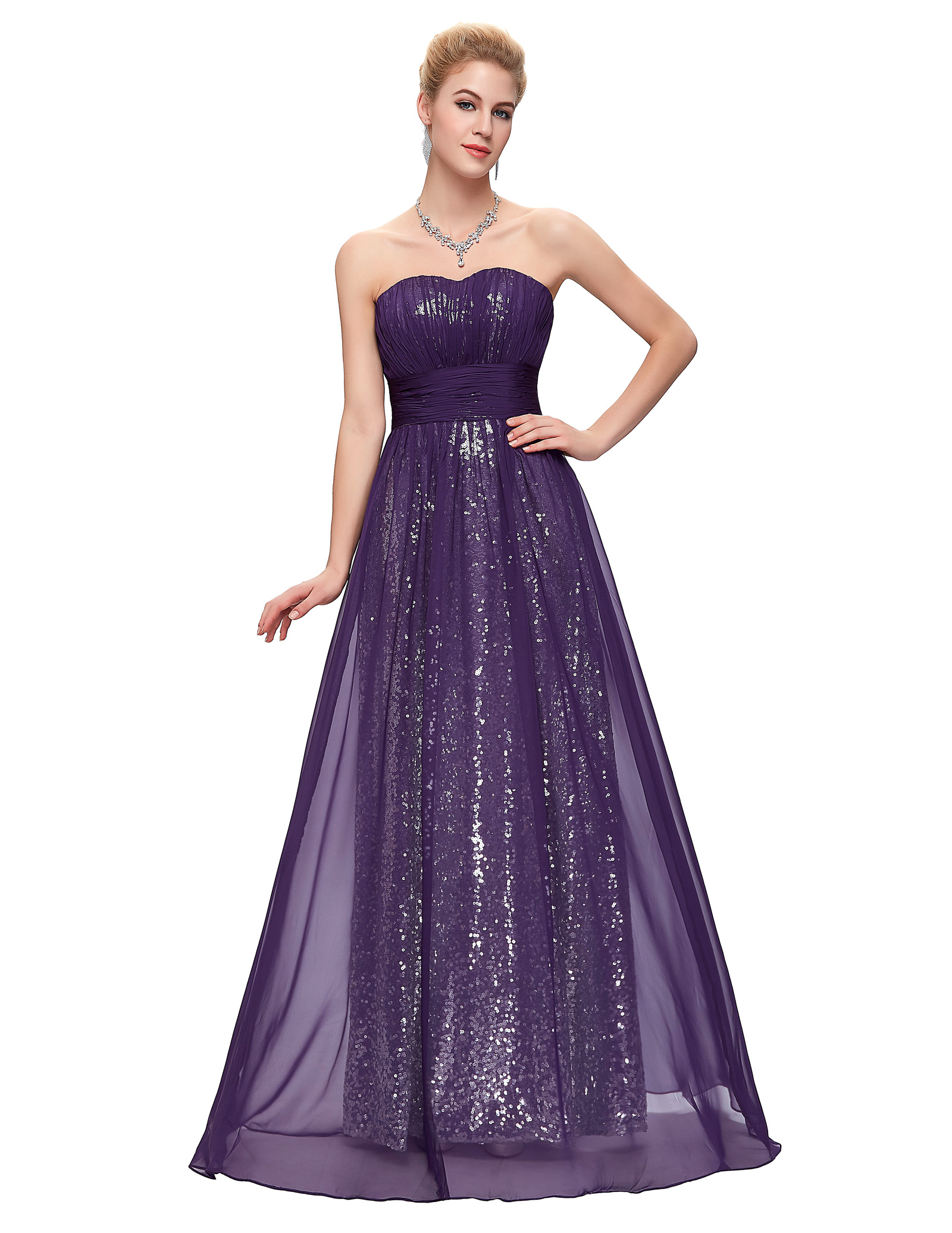 Long, flowing sequin prom dresses evoke elegance and a rich, refined style. Look for something that sparkles from head to toe or consider strapless dresses that stand out with embellishments. especially when paired with pumps or prom sandals. Go for frocks in rich, dark colors like black, blue, burgundy or green. Look for sequins in.