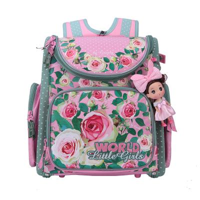 62e657e04a9d Russian Children School Bags Pink Flower Printed Waterproof Orthopedic  Nylon Kids Girls Backpack 3D Schoolbag Mochila Infantil
