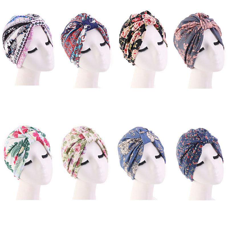 Оптовая продажа, в наличии 8 цветов, Новое поступление, хлопковая Футболка с принтом из двух изделий: топа с рисунком и с бантиком, Женская повязка для волос пятно подкладка внутри женские тюрбан кепки TJM-410