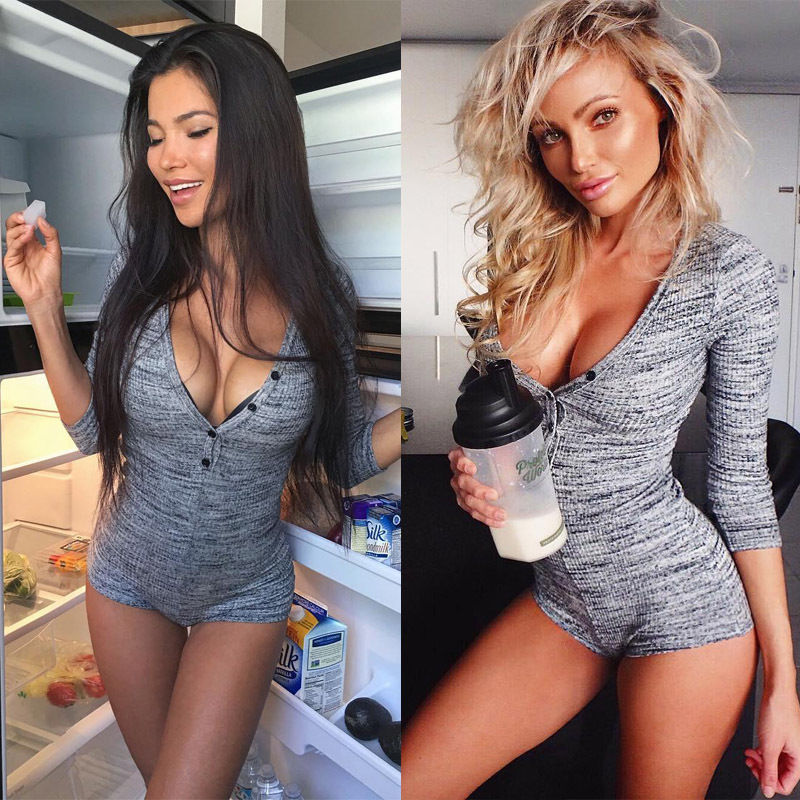 548b231888 Detail Feedback Questions about Knitted Sexy Bodysuit Women Rompers Bodycon  Jumpsuit Long Sleeve Bodysuit Women Autumn Spring Ribbed Bodysuits  Playsuits on ...